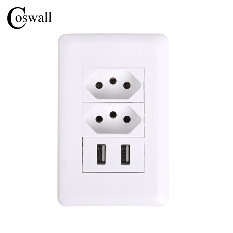цена на Coswall Wall Power Brazil Socket 15A Brasil Standard Double Soquete 5V 2100mA Dual USB Charger Port 115mm*75mm AC 110~250V
