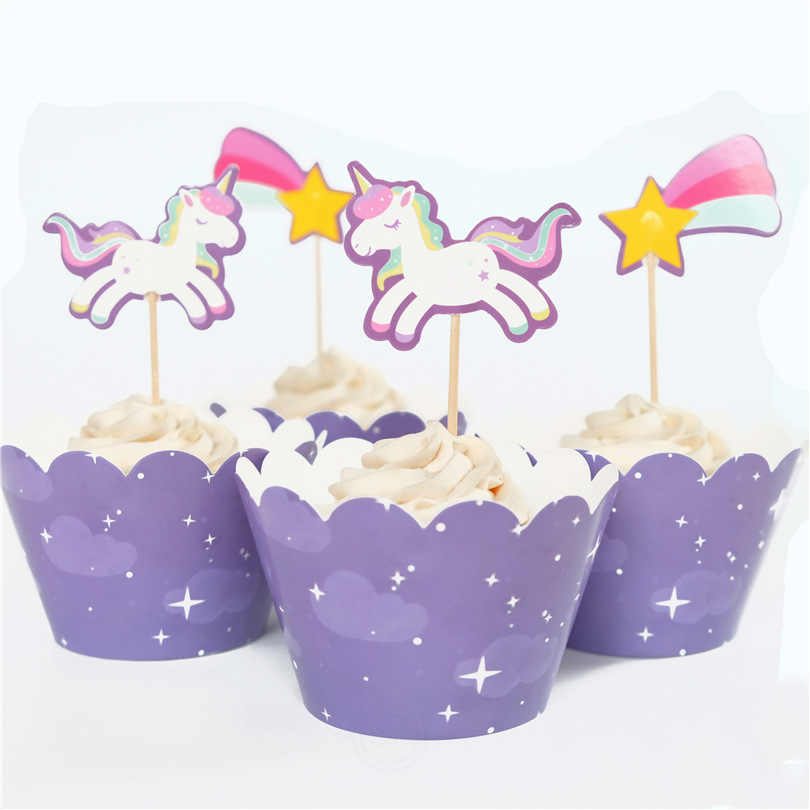 12sets Purple Unicorn Cupcake Wrappers With Toppers Baby Shower Kids Birthday Party Decor Cake Dessert Decoration