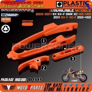 Orange Chain Slider Sliding Swingarm Guide With Brake Hose Clamp For KTM SX SXF SMR XC XCF 125 150 200 250 350 450 525 2011-2017(China)
