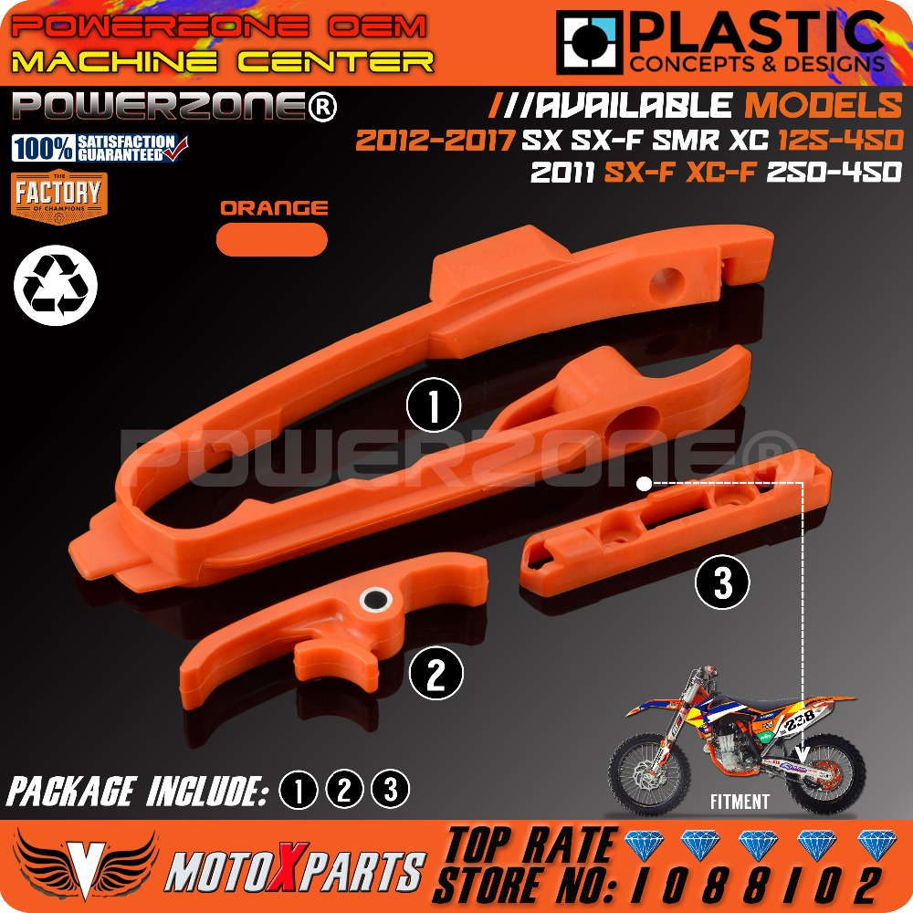 Orange Chain Slider Sliding Swingarm Guide With Brake Hose Clamp For KTM SX SXF SMR XC XCF 125 150 200 250 350 450 525 2011-2017