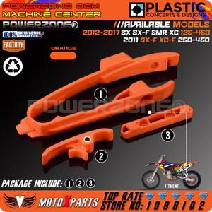 ad77a97a Orange Chain Slider Sliding Swingarm Guide With Brake Hose Clamp For KTM SX  SXF SMR