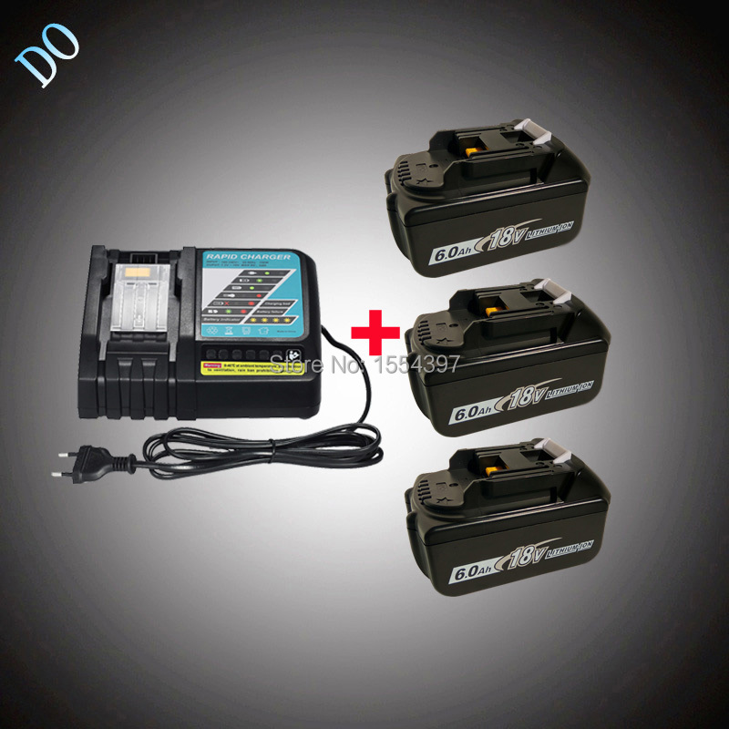 3PCS 18V 6000mAh BL1860 Replacement for Makita BL1830 BL1850 BL1840 LXT400 Rechargeable Lithium Ion Battery Power Tool Charger dvisi for makita bl1830 power tool battery cordless drill li ion batteries 18v 6000mah for makita bl1840 bl1860 bl1820 bl1850