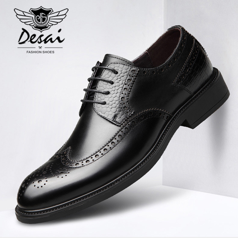 DESAI New Style Mens Genuine Leather Shoes Bullock Carved Shoes Pointed Business Dress Shoes Men Wear Comfortable OxfordsDESAI New Style Mens Genuine Leather Shoes Bullock Carved Shoes Pointed Business Dress Shoes Men Wear Comfortable Oxfords