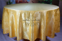 2016 New Design Gold Color Chinese Rose Flower Jacquard Tablecloth Table Linen For Wedding Home Decorations