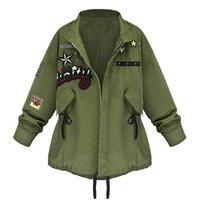 Демисезонный Для женщин Курточка бомбер Армейский зеленый Топы корректирующие с длинным рукавом Тонкий Turn-Подпушка воротник верхняя одежда Для женщин одноцветное пальто lm93