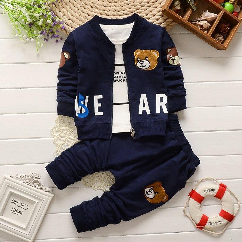 2016 new spring autumn baby boy clothes children avtive cartoon bear clothing 3pcs sets kids boys