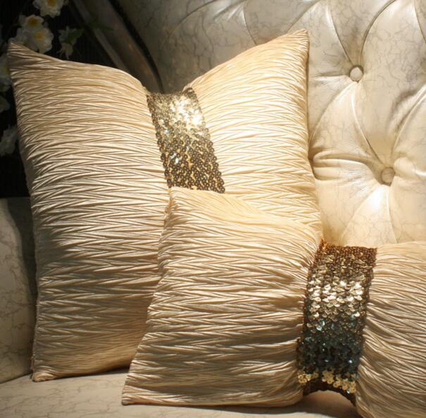 #178 Europe Luxurious New Hot Cream Ruffer Sequin Belt Cushion No Filling Sofa Bed Car Home Dec Wholesale