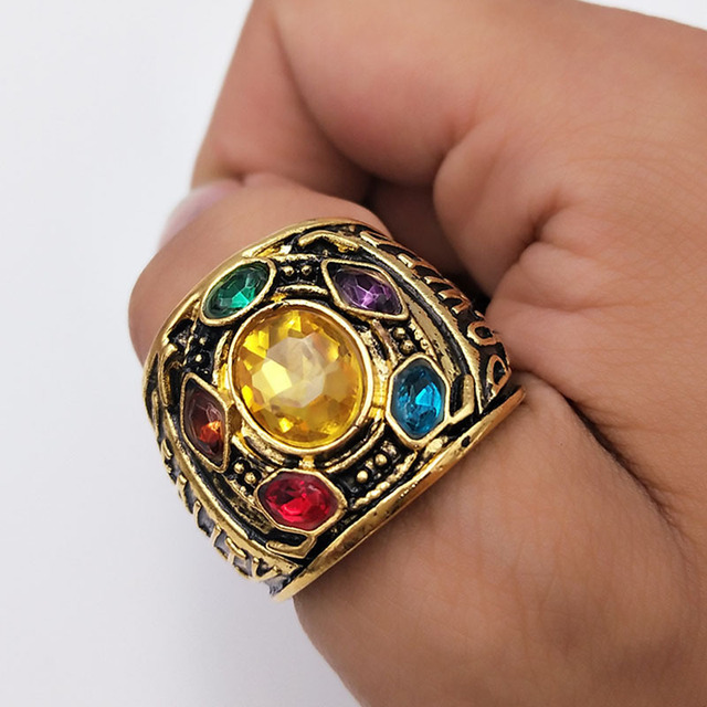 Avengers Infinity War Thanos Infinity Gauntlet Power Cosplay Alloy Ring Jewelry  1