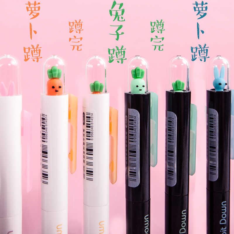 4 pcs/set Lucu kartun Lobak dan kelinci gel pena pena netral alat tulis sekolah pena pemodelan banyak