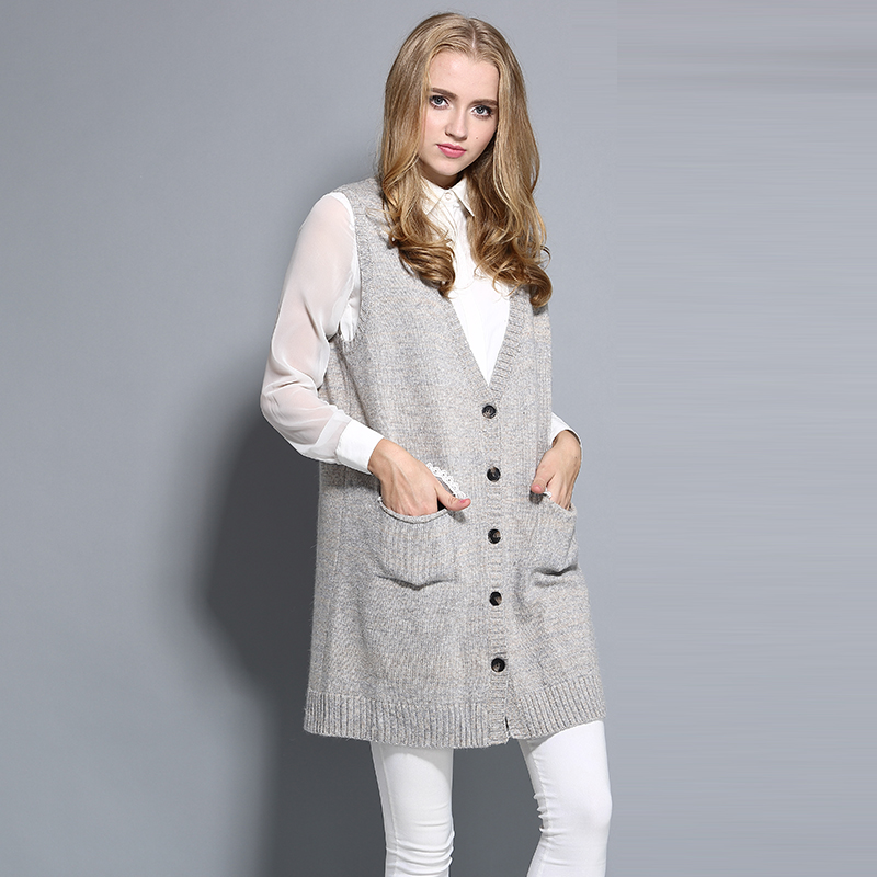 Long Cardigan Vest V Neck Wool Mix Lace Pocket Thick Free Size ...