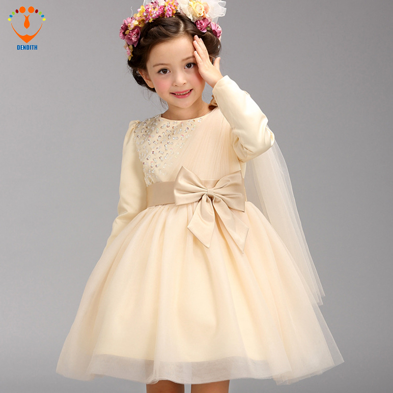 DENDITH NEW arrival baby girls long sleeve Lace  wedding dress  Girls  knee-length  bow Princess dress for Ball Gown 4pcs new for ball uff bes m18mg noc80b s04g