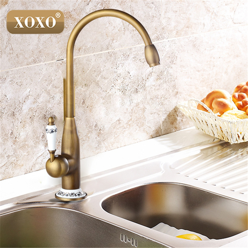 XOXOnew style antique brass finish faucet kitchen sink basin faucets mixer tap with ceramic hot and cold 50041BT-2