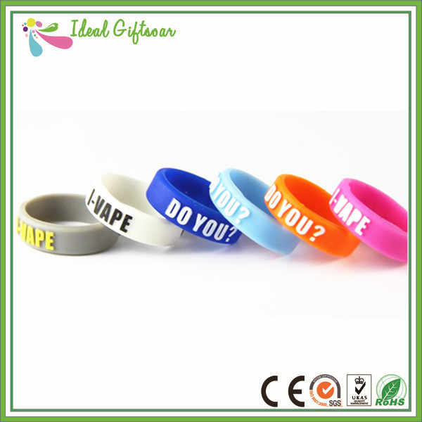 Wholesale silicone rings high quality colorful personalized silicone vape band with company logo printing