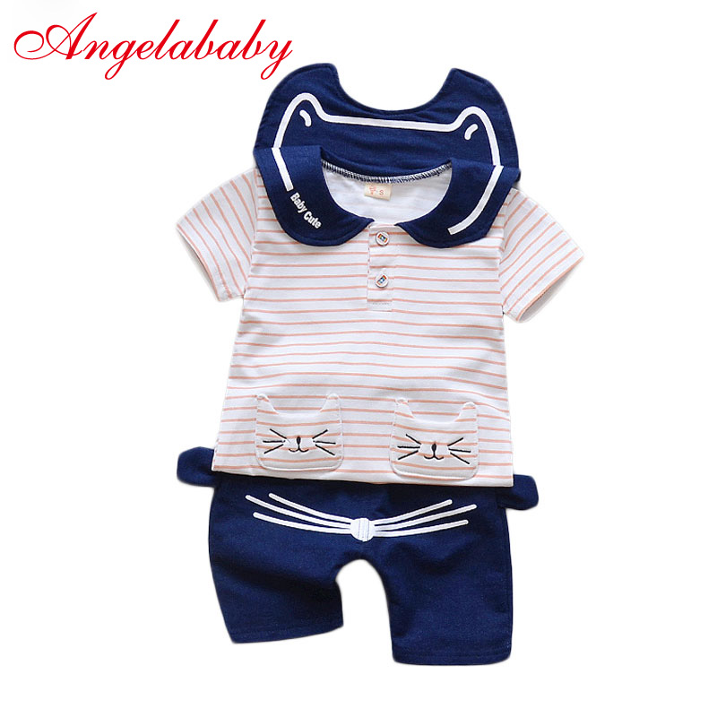 Baby Boys Cartoon Lapel Cat Suit Clothes Wind Blade Stripe Short Sleeves Cotton + Pants 2 pcs Childrens Clothing Sets