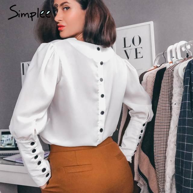 442d6168d Simplee V pescoço camisa blusa mulheres Sopro manga botão blusa branca  Outono inverno senhora camisa chiffon