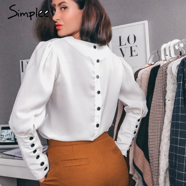 Simplee v ネック女性ブラウスシャツパフスリーブボタン白ブラウス秋冬女性のシャツトップ女性オフィスシフォンブラウストップス