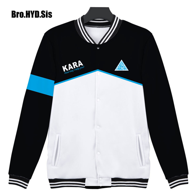 New Men Baseball Jacket Autumn Mens Detroit Become Human Games Cosplay Clothes For College Student