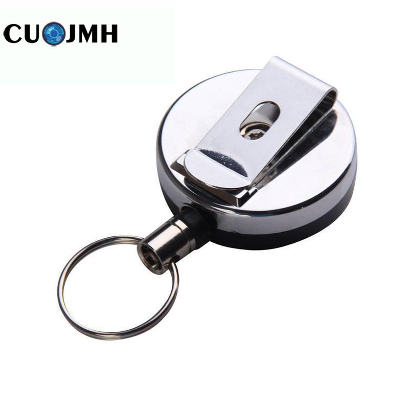 Silver Retractable Keychain Camping Hiking Portable Mini Outdoor Safety Buckle Retractable Rope Keychain Anti-lost Keychain