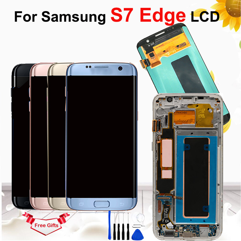 Original AMOLED 5.5'' Burn shadow LCD For Samsung Galaxy S7 Edge Display With Frame G935 G935F LCD Screen Digitizer Assembly