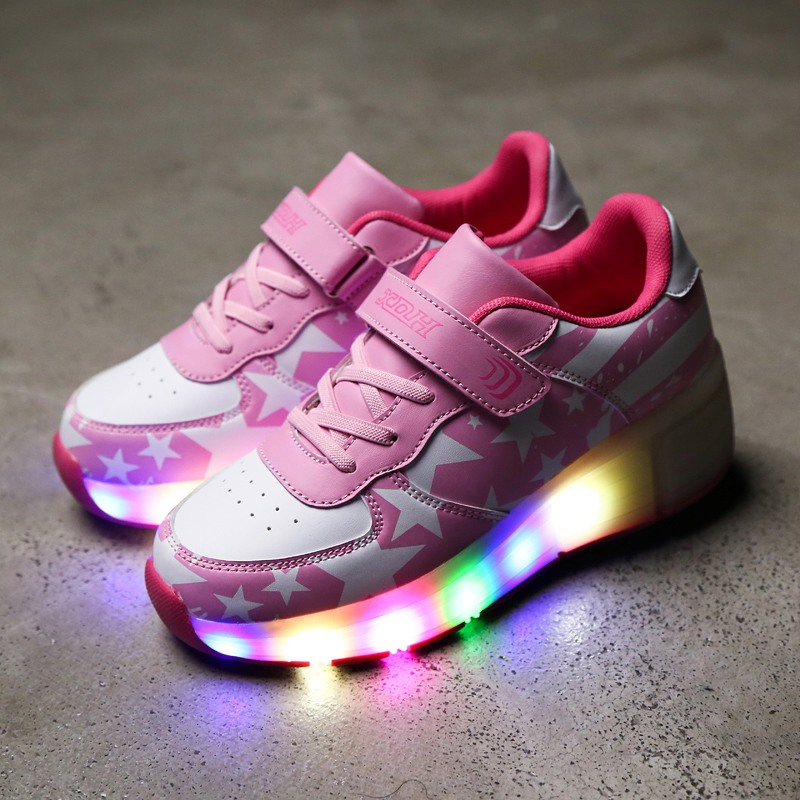 Wheel Glowing Sneakers LED Light Shoes Boys Girls Toddler/Little Kids/Big Kids Flashing Board Casual Breathable Roller Skates new shoes light double wheel breathable glowing walking shoes led roller skates 3 colors unisex students walking sneakers