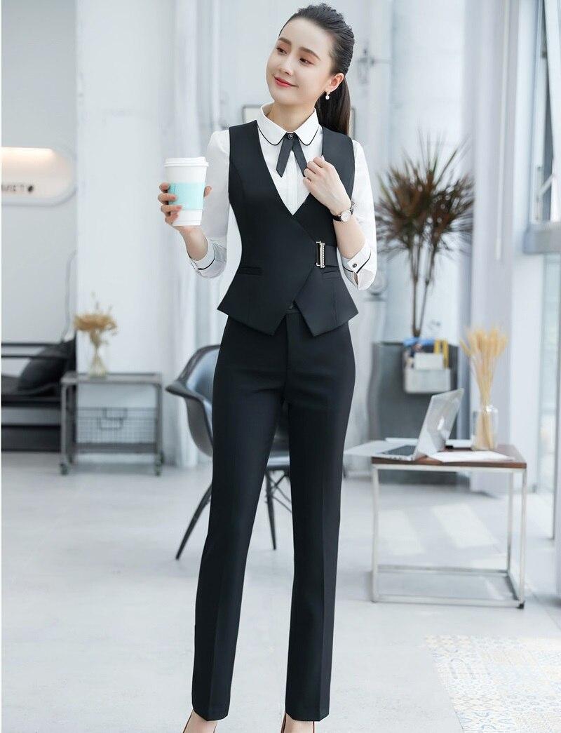 Bureau Black Pantsuits Manteau Femmes Styles 2 Gilet Et Uniforme Ensemble Pour Complet Veste Pantalons Avec Hauts Formel Pièce Dames qWFWX46wU