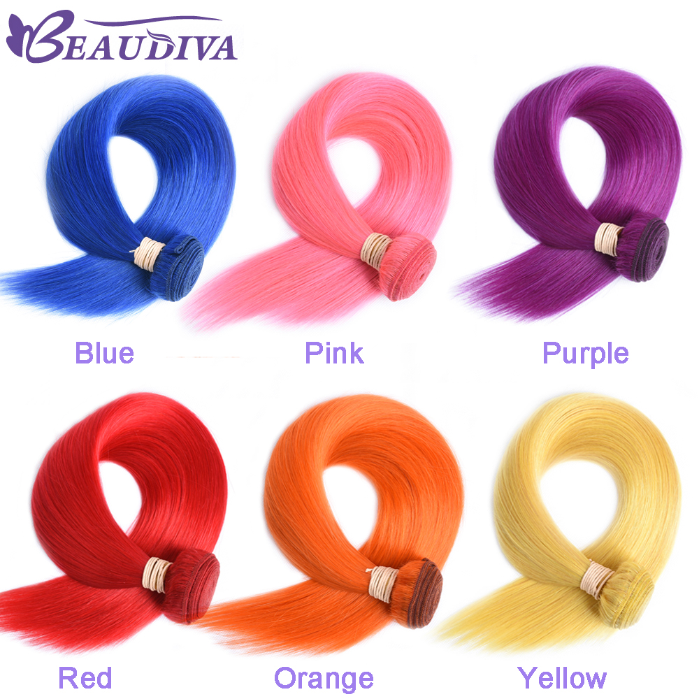 BEAUDIVA Hair Brazilian Straight Hair Weave Human Hair Bundles With Closure Pink, Red Blue,yellow Bundles With Closure