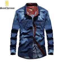 2019 nuevos hombres de manga larga camisa Denim primavera otoño prendas de  vestir exteriores de algodón Collar Casual camisas ab. a32f68f046f