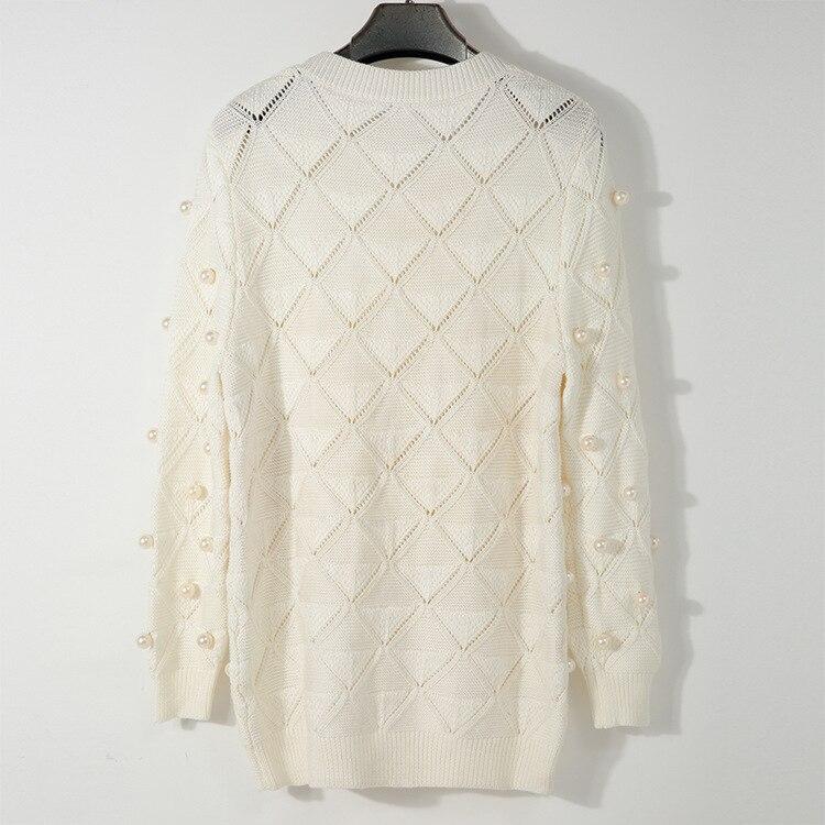 Automne Femme Pulls Chandails À Femmes O Blanc Longues Manches Beige Casual Hiver Knit Perlée Perle cou Chandail Survêtement qOAnadwX