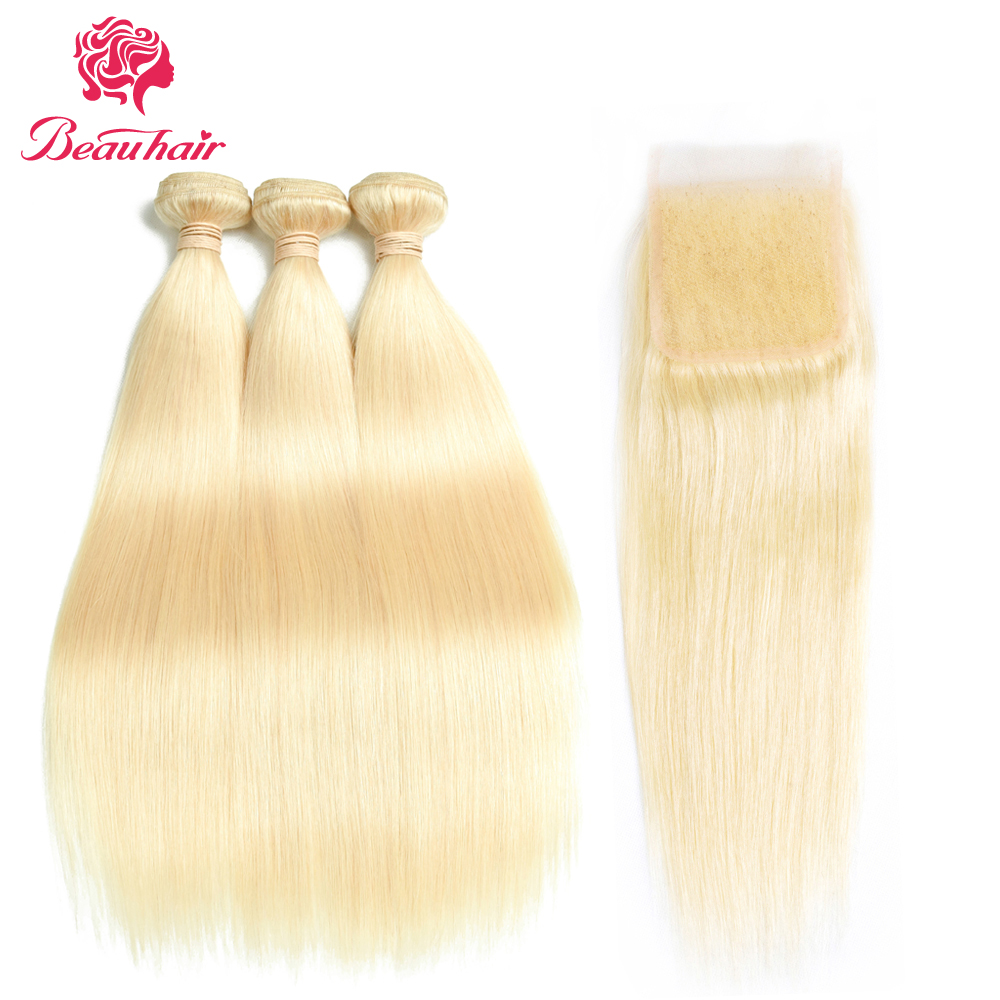Beau Hair Honey Blonde Malaysian Straight Hair 3 Bundles With Closure Non Remy Human Hair Extension 100% Platinum Human Hair