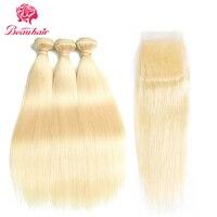 Beau Hair Honey Blonde Malaysian Straight Hair 3 Bundles With Closure Non Remy Human Hair Extension 100% Platinum Human Hair