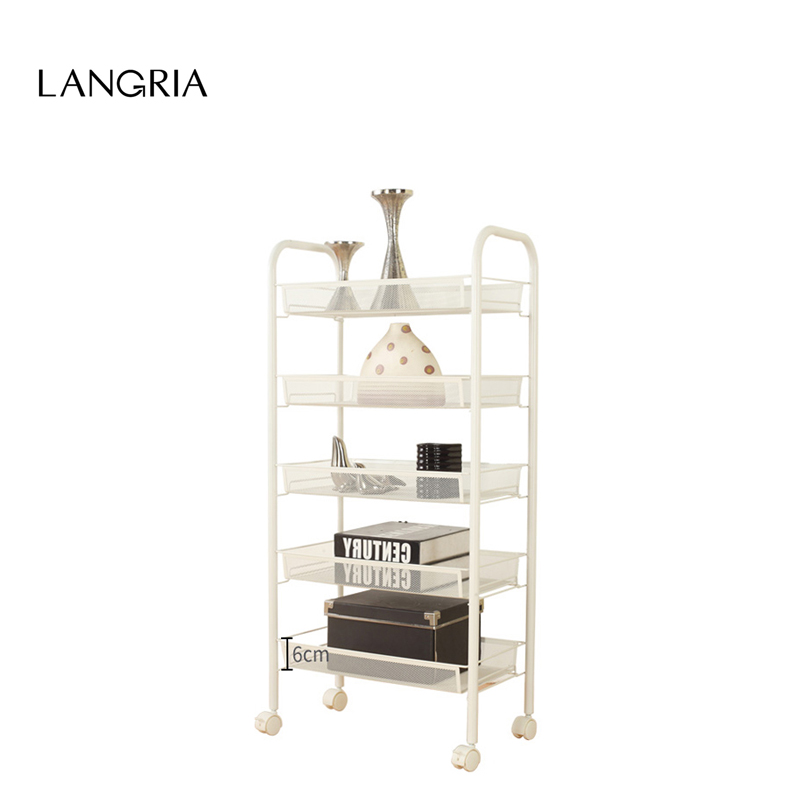 Us 25 99 20 Off Langria 5 Tier Metal Mesh Rolling Cart For Kitchen Pantry Office Bedroom Bathroom Washroom Laundry E Saving Storage Rack In