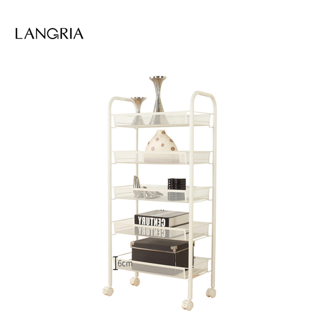Langria 5 Tier Metal Mesh Rolling Cart For Kitchen Pantry Office Bedroom Bathroom Washroom Laundry E Saving Storage Rack