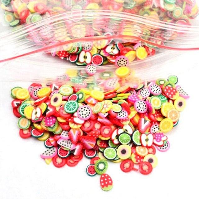 1000 piezas de relleno de rodajas de fruta para uñas puntas de arte fruta de limo para Niños Accesorios de limo DIY suministros de decoración de cerámica suave