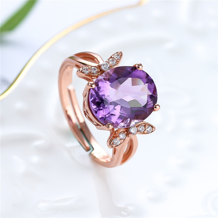 Crystal ring jewelry manufacturer a generation of hair 925 silver natural amethyst ring female opening