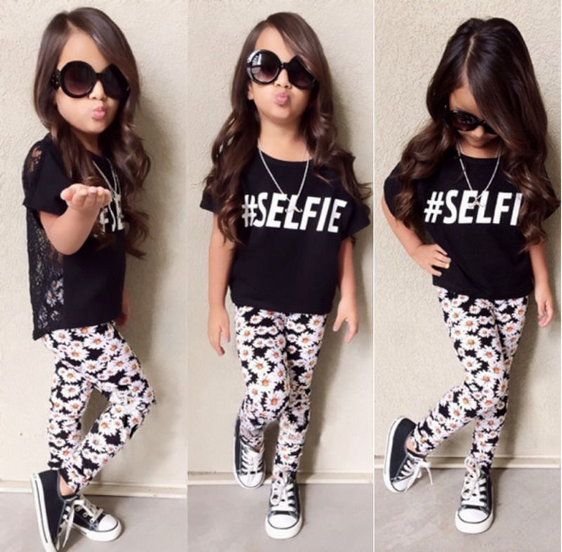 2016 Baby Girls Clothing 2-7Y Toddle Kids Summer Short Sleeve Lace Top Shirt Floral Pant 2pcs Outfit Children Clothes Set
