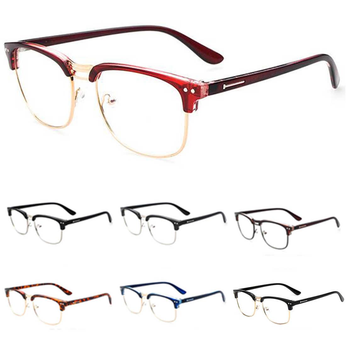 5f2c685689d 2017 Fashion Metal Half Frame Glasses Frame Retro Women Men Reading Glass  UV Protection Clear Lens