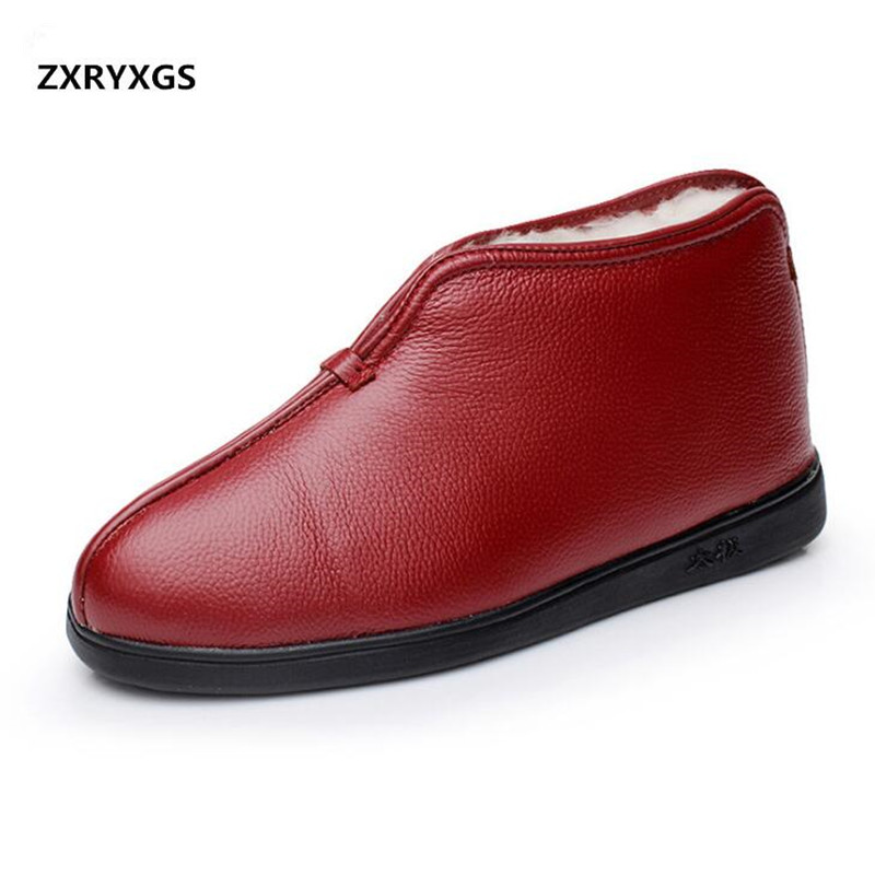 2019 winter genuine leather shoes wool old people cotton boots women fur one winter shoes warm