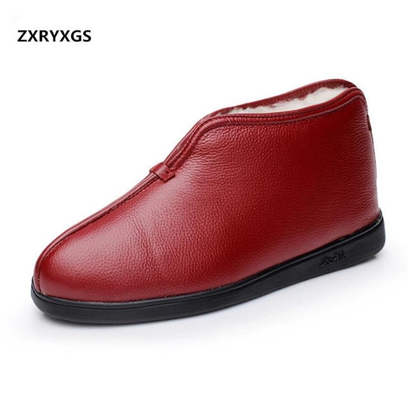 2019 겨울 정품 가죽 신발 양모 노인 면화 부츠 여성 모피 한 겨울 신발 따뜻한 면화 짧은 부츠-에서앵클 부츠부터 신발 의  그룹 1