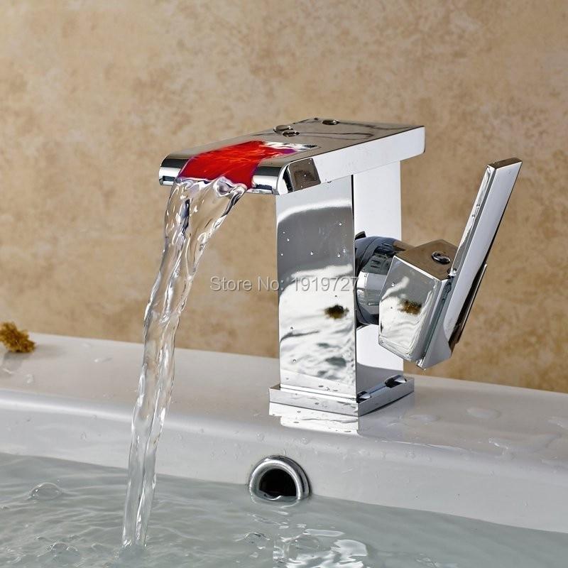 Здесь продается  Factory Direct 5 Yr Warranty Temperature Led Faucet Light 3 Color Water Two Handle Single Hole Waterfall Bathroom Mixer Tap  Строительство и Недвижимость