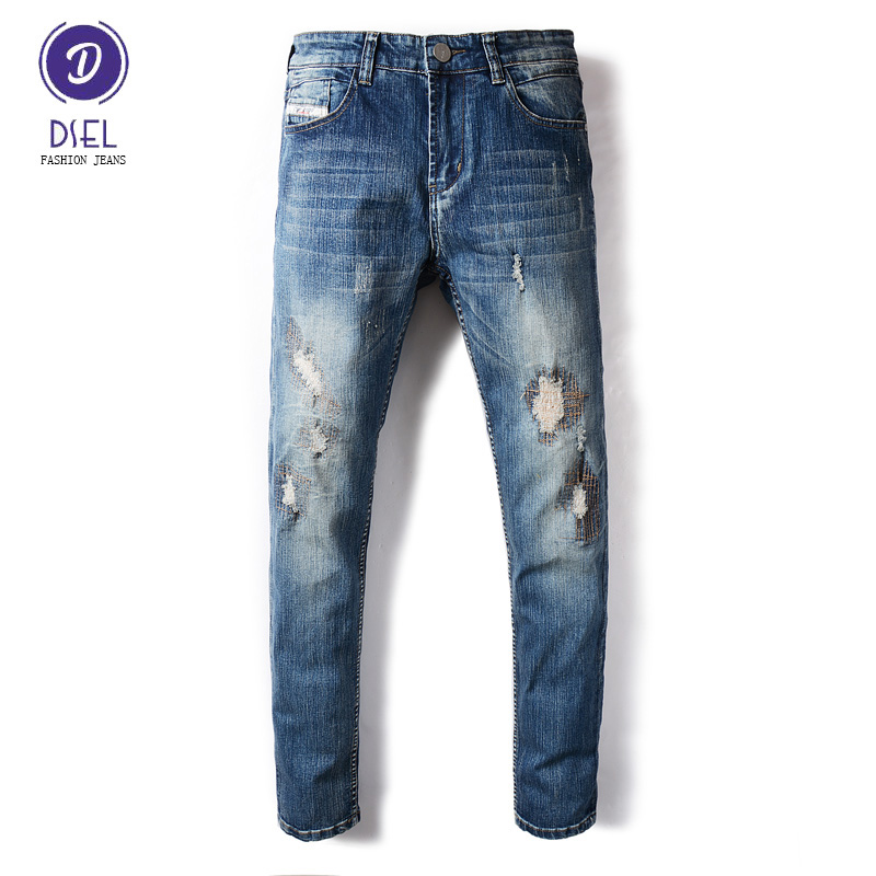 DSEL Brand Fashion Mens Jeans Blue Color Denim Elastic Stretch Ripped Jeans Men Skinny Fit Biker Jeans Full Length Casual Pants