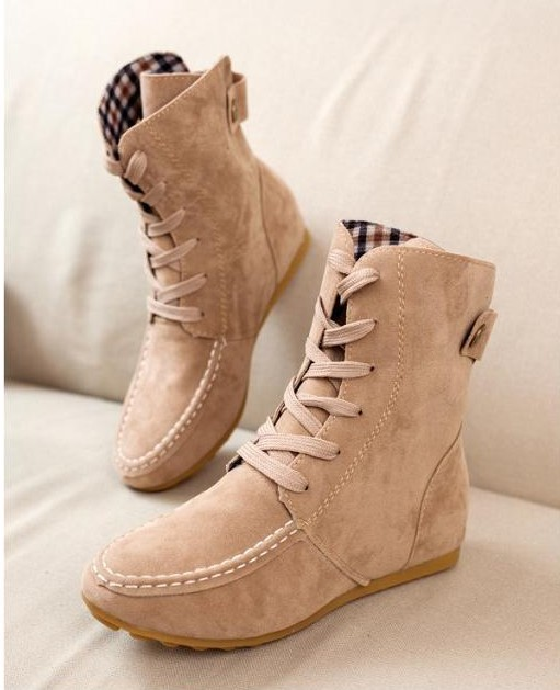 2014 New Women Flat Ankle Snow Motorcycle Boots Female Suede Leather Lace-Up  Martin Boot 81942b9bf
