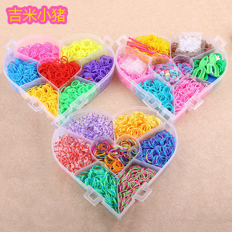 21color Loom Bands Toys for Children Girl Gift DIY Elastic Rubber Band for Weaving Lacing Bracelets Kid Toy Set 4200pcs 2019 New