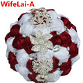 Wine Red White Bridal Brooch Bouquets Ramos De Novia Artificial Flowers Crystal Wedding Bouquet Stunning Bridesmaid Bouquet W228