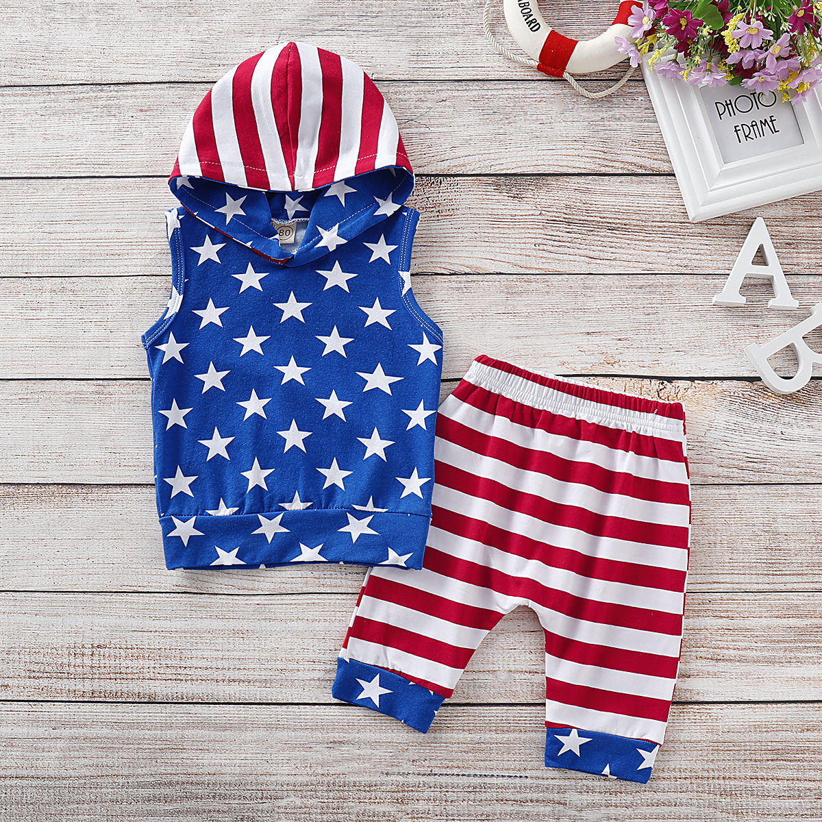 4th of july outfit boys summer clothes thanksgiving 2019 boutique boy clothing fashion cotton o neck pullover sleeveless in Clothing Sets from Mother Kids