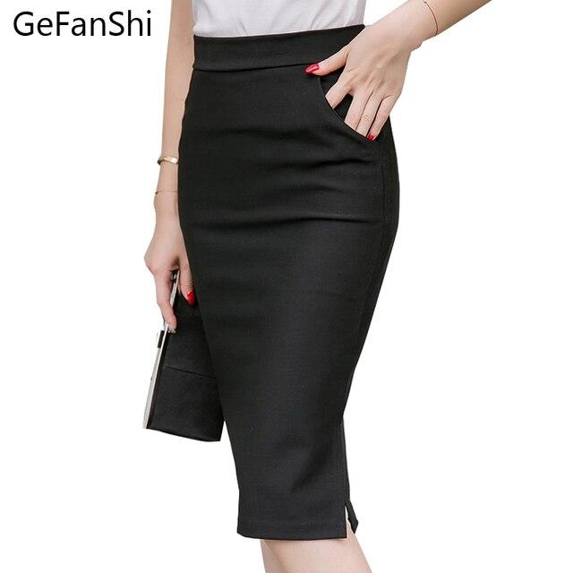 db8c65859 € 11.11 35% de DESCUENTO|S 5XL talla grande 2019 nueva moda elegante Falda  Midi de mujer delgada OL Sexy abierto falda lápiz rodilla falda larga de ...