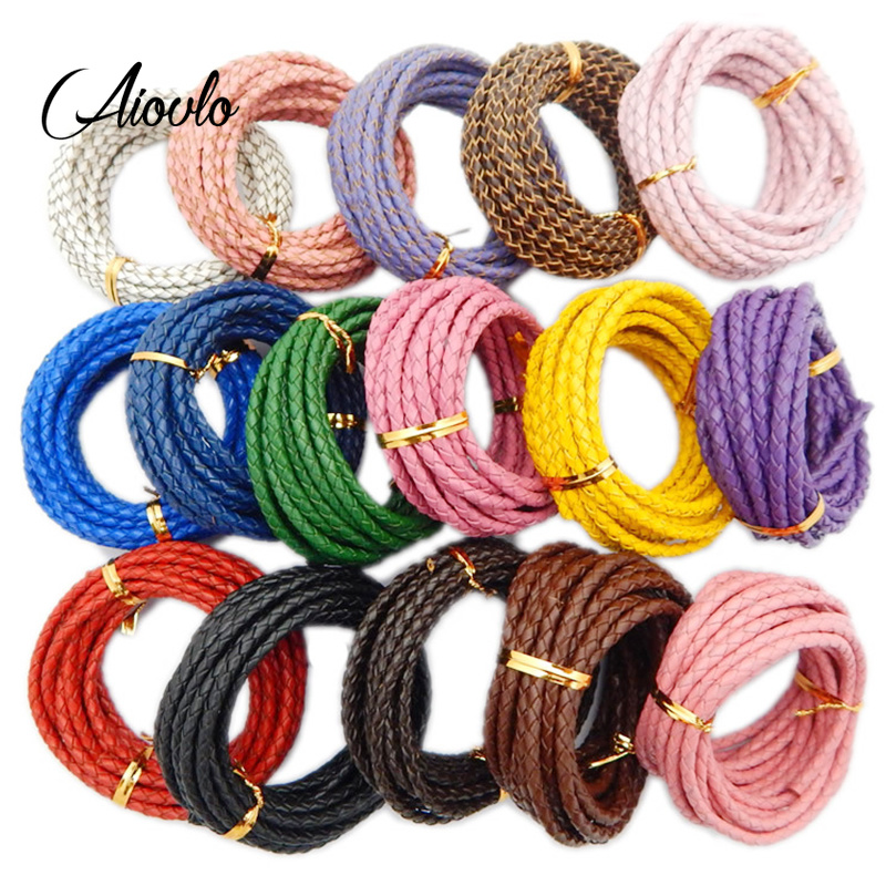Aiovlo 5Meter/lot Genuine Leather Braided Leather Cord Round Leather Rope Thread Dia 3mm 4mm for DIY Necklace Bracelet Jewelry
