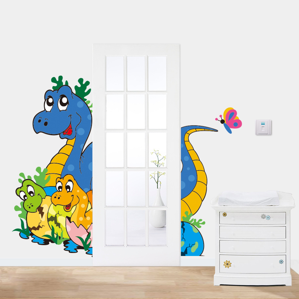 Posters for bedroom doors - New Cute Baby Dinosaur Children Kids Room Bedroom Nursery Door Decoration Wall Stickers Home Decor Adesivo Para Paredes Posters