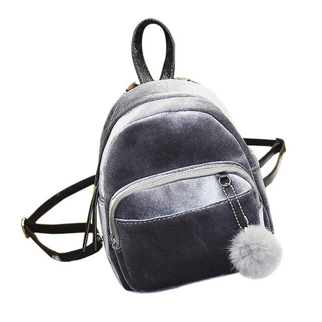 bcdc9c9a378 Bag Accessory 2018 Mini Fur Ball Backpack Fashion Shoulder Bag Solid Women  Girls Travel School Bags