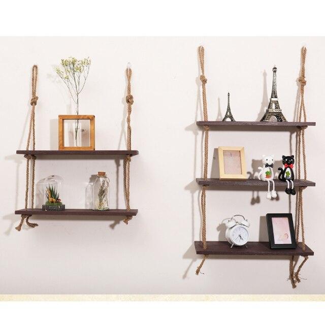 Estante colgante de madera cuerda de oscilación estantes flotantes 3  niveles estante de exhibición de pared 046e95a9e8cc