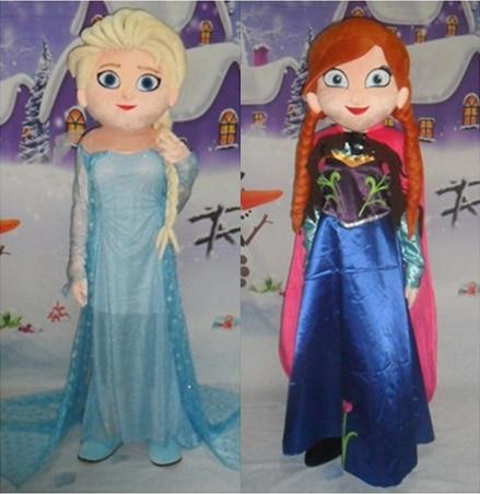 Elsa & Anna Costume Della Mascotte Del Fumetto Costume del Carattere Spedizione Gratuita